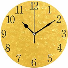 ISAOA 9.4 Inches Modern Wall Clock,Yellow Round