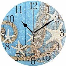 ISAOA 9.5 Inches Modern Wall Clock,1 Starfish