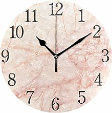 ISAOA 9.5 Inches Modern Wall Clock,Rose Gold