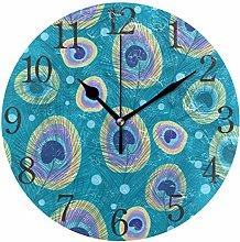 ISAOA 9.5 Inches Modern Wall Clock,Stylish Peacock