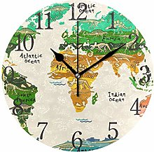 ISAOA 9.5 Inches Modern Wall Clock,Vintage World