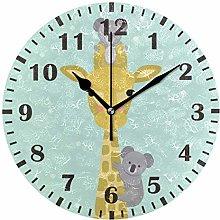 ISAOA Baby Blue Giraffe Adorable Koala Wall Clock