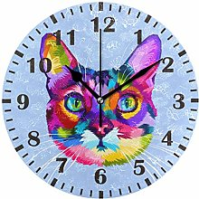 ISAOA Colorful Cat Face Wall Clock for Bedroom