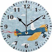 ISAOA Cute Lama Driving Plane Wall Clock for