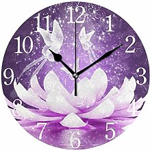 ISAOA Floral Modern Wall Clock,Silent Non-ticking