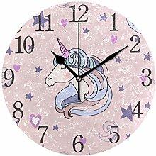 ISAOA Lovely Unicorn Wall Clock For Girl