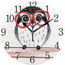 ISAOA Modern Wall Clock 9.4 Inches,Owl With Red