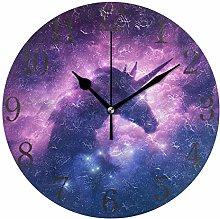 ISAOA Modern Wall Clock,Unicorn Pattern,Silent