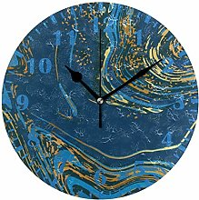 ISAOA Navy And Gold Luxury Marble Wall Clock for