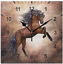 ISAOA No-Tick Silent Wall Clock,Brown Horse Wall