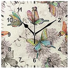 ISAOA Non Ticking Silent Wall Clock,Butterfly With