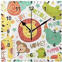 ISAOA Non Ticking Silent Wall Clock,Jungle Animals