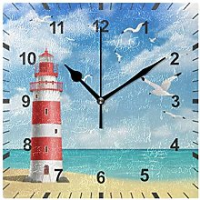 ISAOA Non Ticking Silent Wall Clock,Lighthouse On