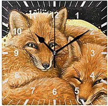 ISAOA Non Ticking Silent Wall Clock,Little Foxes