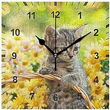 ISAOA Non Ticking Silent Wall Clock,Little Kitten