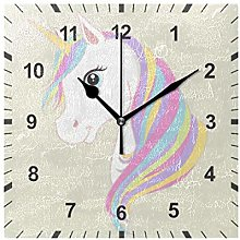 ISAOA Non Ticking Silent Wall Clock,Pink Unicorn