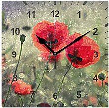 ISAOA Non Ticking Silent Wall Clock,Poppy Floral