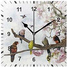 ISAOA Non Ticking Silent Wall Clock,Tropical Birds