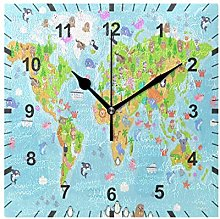 ISAOA Non Ticking Silent Wall Clock,World Map With