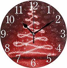 ISAOA Red Christmas Tree Wall Clock,Silent