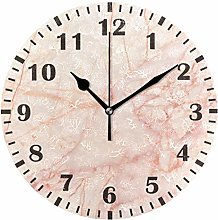 ISAOA Rose Gold Marble Wall Clock for Bedroom