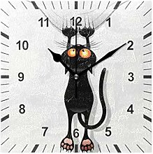 ISAOA Square Non Ticking Silent Wall Clock,Cat