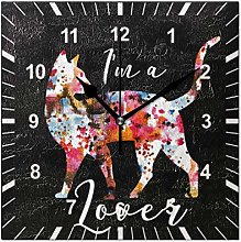 ISAOA Square Non Ticking Silent Wall Clock,Lovely