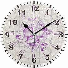 ISAOA Vintage Purple Flower Wall Clock for Bedroom