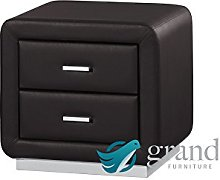 Isla Brown Faux Leather Bedside Table 2 Drawer