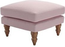 Isla Small Square Footstool in Powder Pink Brushed