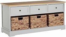 Island Falls 3 Basket Drawer Wood Storage Bench