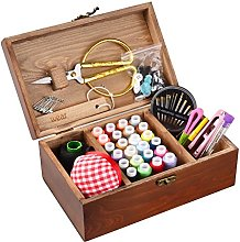 ISOTO Wooden Sewing Basket with Kit Accessories