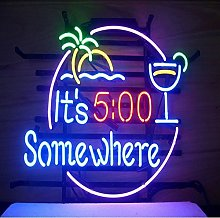 It's 5:00 Somewhere Real Glass Neon Light Sign