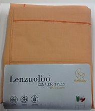 Italbaby 3 Piece Plain Cot Sheet Set, Orange,
