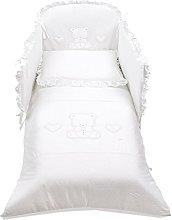 Italbaby 4 Piece Pony Amore Bedding Set, White,