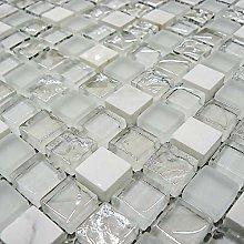 Italian Design White Glass & Stone Mosaic Tiles