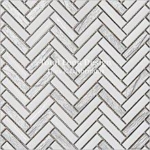 Italian Design White & Silver Herringbone Mosaic