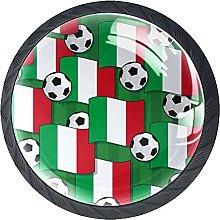 Italian Flag with Football 4 Pcs Crystal Glass
