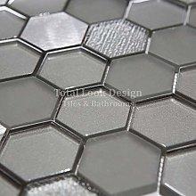 Italian Habitat Hexagon Silver Glass Mosaic Tiles