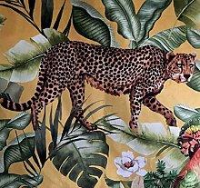 Italian Velvet Botanical Tropical Jungle Yellow