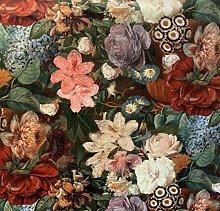 Italian Velvet Printed Gold Age Flowers