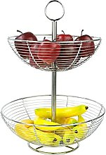 iTrend 2 Tier Chrome Fruit Basket - Metal fruit