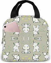 IUBBKI Baby Goats in Gray Lunch Bag Cooler Box