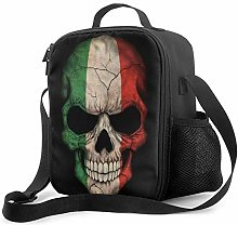 IUBBKI Dark Italian Flag Skull Insulated Lunch