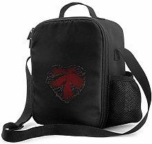 IUBBKI Dark Red Heart Insulated Lunch Bag,