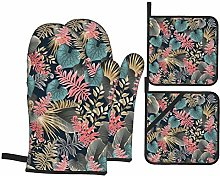 IUBBKI Dark Tropical Leaves Oven Mitts and Pot