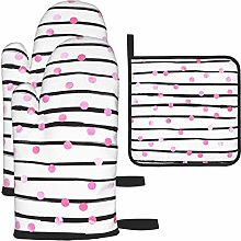 IUBBKI Oven Mitts and Pot Holders 3pcs Set,Blush