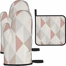 IUBBKI Oven Mitts and Pot Holders 3pcs Set,Pink