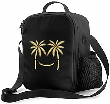 IUBBKI Palm Trees Funny Gold Insulated Lunch Bag,