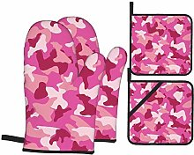 IUBBKI Pink Camouflage Oven Mitts and Pot Holders